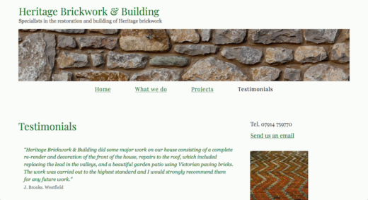 Heritage Brickwork & Building web site page