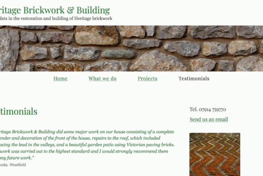 Heritage Brickwork & Building web site page