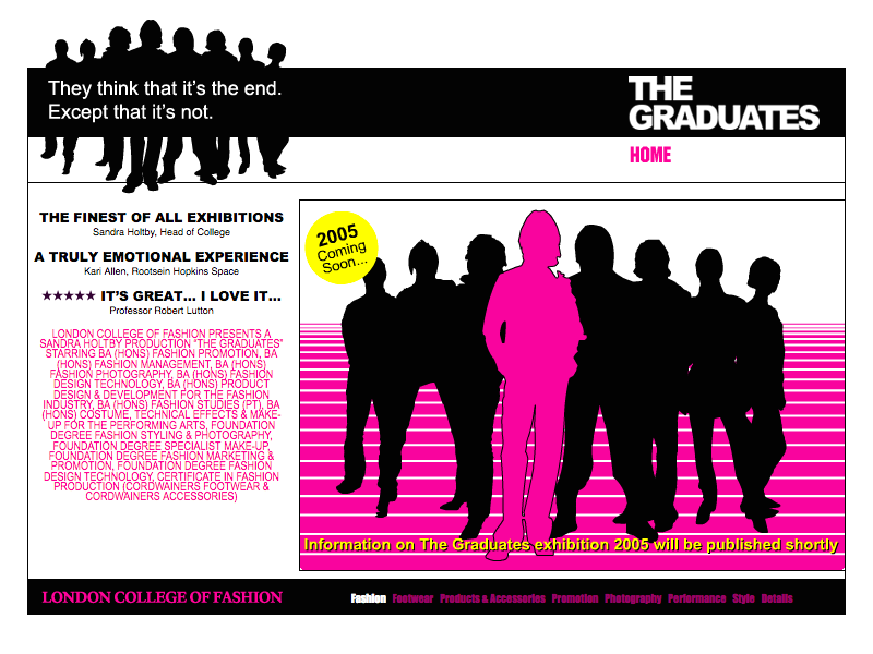 London College of Fashion Graduates 2004 web site home page