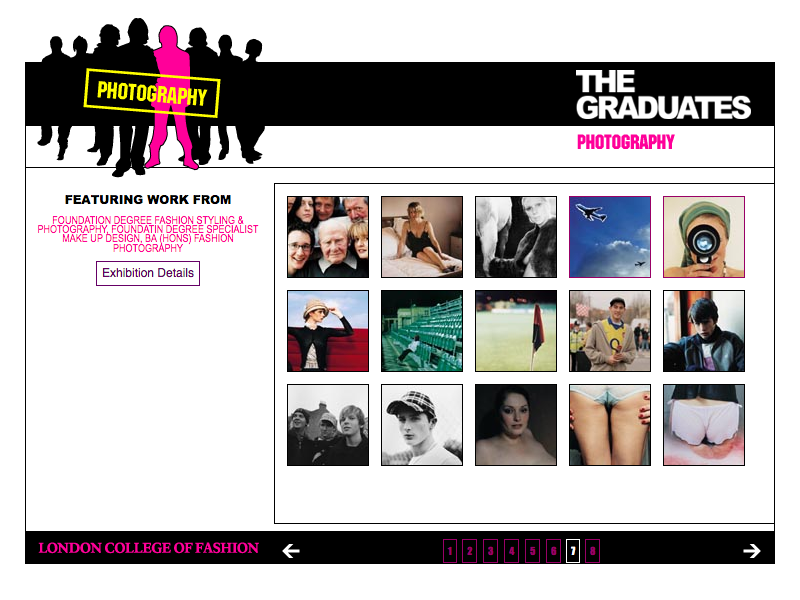 London College of Fashion Graduates 2004 web site image gallery page