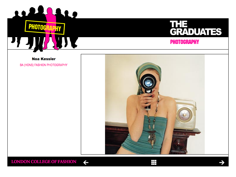 London College of Fashion Graduates 2004 web site image page