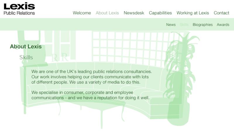 Lexis PR web site page