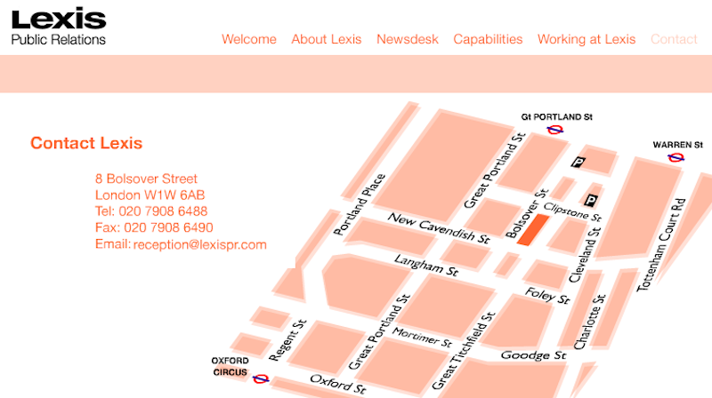 Lexis PR web site map page