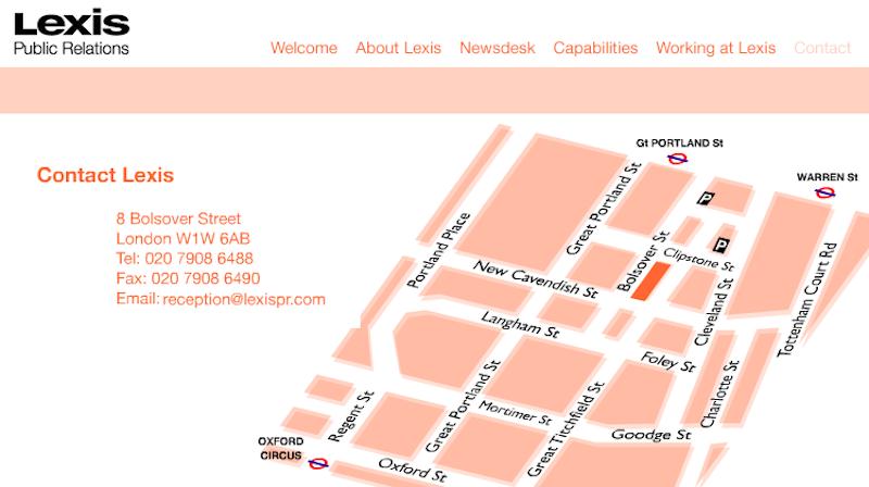 Lexis PR web site map page