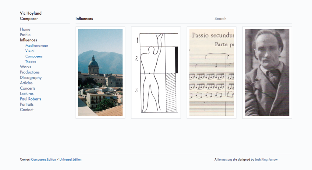 Vic Hoyland web site influences page
