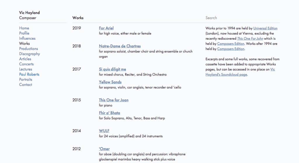 Vic Hoyland web site works list page