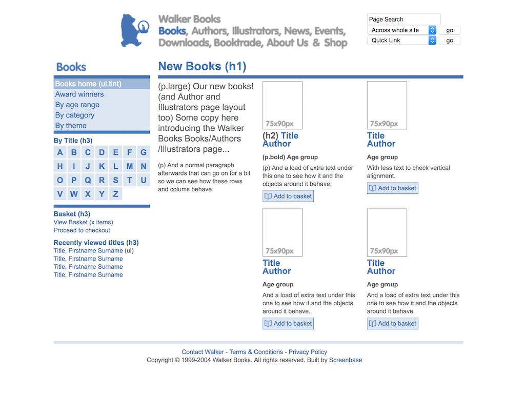 Walker Books web site books list template