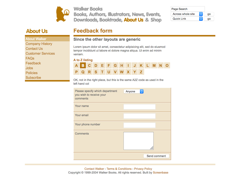 Walker Books web site form template