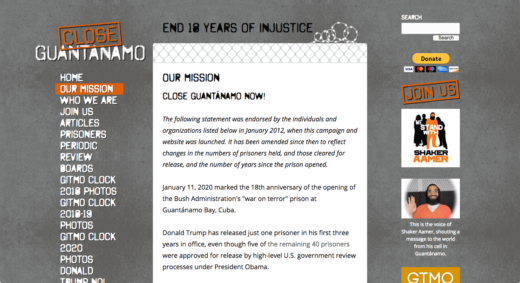 Close Guantanamo web site
