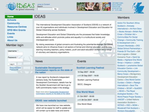 IDEAS web site home page