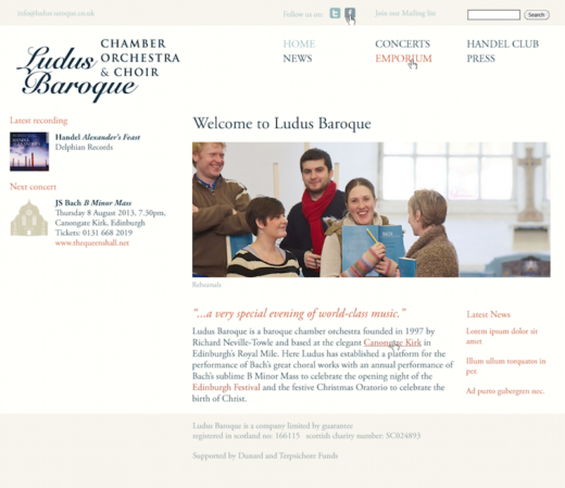 Ludus Baroque web site treatment