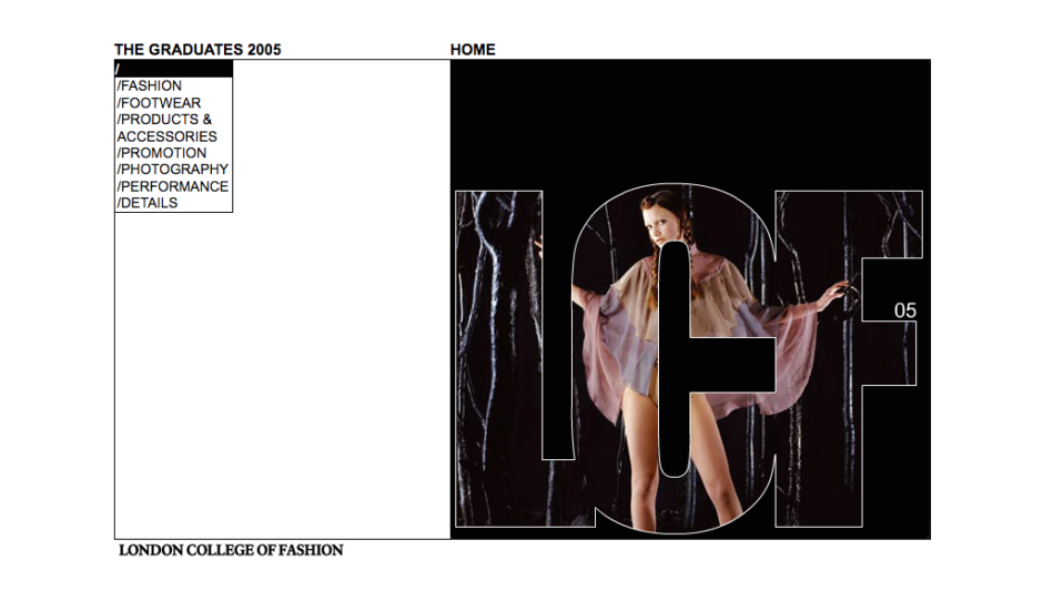 London College of Fashion Graduates 2005 web site home page