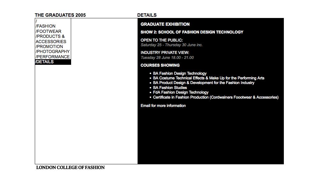 London College of Fashion Graduates 2005 web site info page