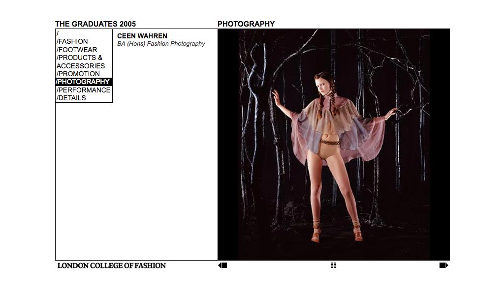 London College of Fashion Graduates 2005 web site image page