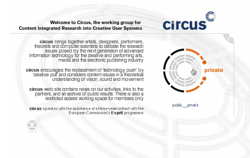 Circus web site cover page