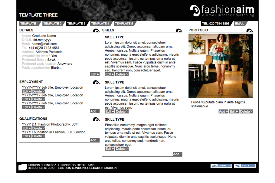 Fashion AIM template page