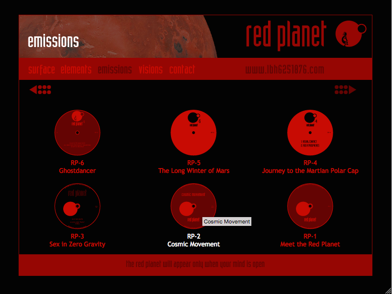 Red Planet web site releases page