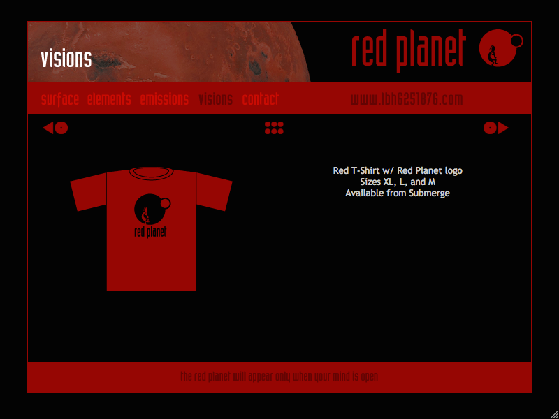 Red Planet web site merchandise page