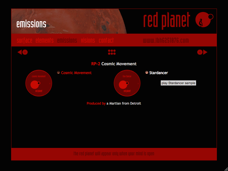 Red Planet web site release page
