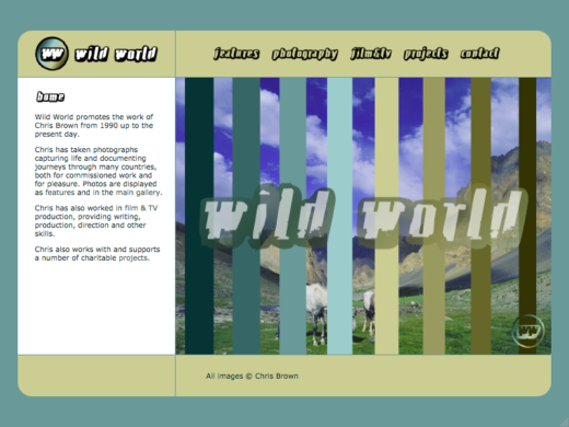 Wild World web site home page