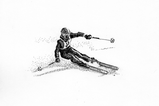 Dip pen drawing of a downhill skier